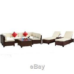 10PCS Rattan Wicker Sofa Set Sectional Couch Outdoor Patio Furniture with Cushions
