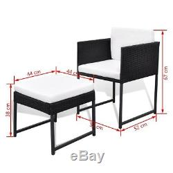 10Seat Poly Rattan Wicker Dining Table Chairs Stools Set Furniture Outdoor Patio