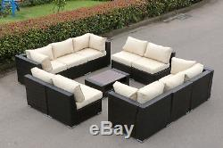 11 Pcs Rattan Wicker Sofa Set Outdoor Patio Furniture Cushioned Chair with Table