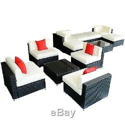12PC Rattan Wicker Sofa Set Outdoor Patio Furniture Sectional Garden Aluminum
