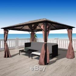 13' x 10' Hardtop Gazebo Metal Aluminum Outdoor Curtains For Patio Furniture Set