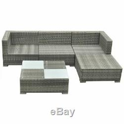 14 Pcs Garden Outdoor Sofa Set Poly Rattan Sectional Couch Patio Furniture Gray