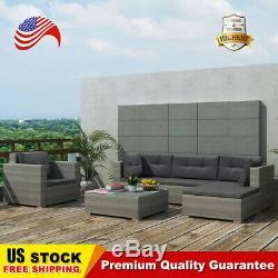 17 pcs Outdoor Patio Furniture Set Rattan Poly Patio Sectional Patio Sofa Gray