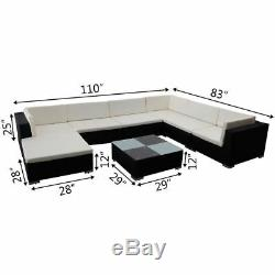 24 Pcs Outdoor Patio Sofa Set Sectional Furniture Poly Rattan Deck Couch Black