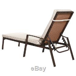 2PCS Patio Rattan Lounge Chair Garden Furniture Adjustable Back With Cushion NEW