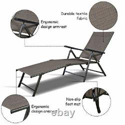 2PCS Pool Chaise Lounge Chair Recliner Outdoor Patio Furniture Adjustable New