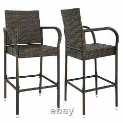 2PCS Rattan Wicker Bar Stool Furniture Chair Outdoor Backyard Patio Home Garden