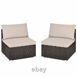 2PCS Wicker Patio Sectional Armless Sofa Outdoor Rattan Furniture Set with Cushion