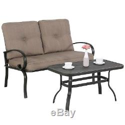 2PC Outdoor Furniture Garden Patio Coffee Table Chair Set Wrought Iron Loveseat