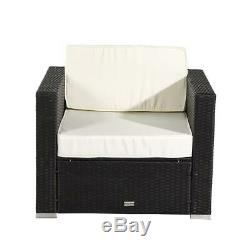 2PC PE Rattan Wicker Sofa Set Sectional Ottoman Couch Patio Outdoor Furniture