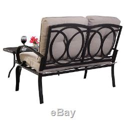 2PC Patio Outdoor LoveSeat Coffee Table Set Furniture Bench With Cushions New
