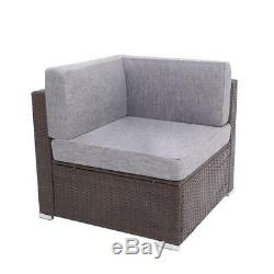 2PC Patio Rattan Wicker Corner Sofa Furniture Garden Outdoor Yard Sectional Set
