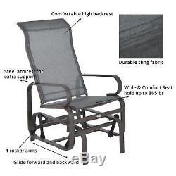 2Pcs Patio Glider Porch Garden Chair Bench Swing Rocker Outdoor Yard Furniture