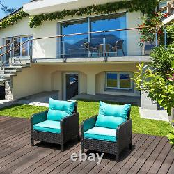 2 PCS Outdoor Single Chair Patio Furniture Rattan Sofa Wicker With Cushions Set US