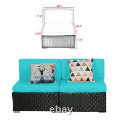 2 PCS Patio Outdoor Wicker Rattan Furniture Garden Sofa Set Cushions Couch