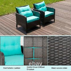 2 PCS Patio Sofa Chair Outdoor Rattan Wicker Furniture Armchairs Set with Cushion