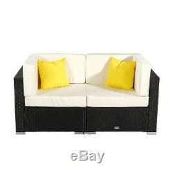 2 PC Wicker Rattan Furniture Set Loveseat Sofa Outdoor Patio Garden Chair
