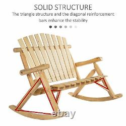 2 Person Fir Wood Rustic Outdoor Patio Adirondack Rocking Chair Bench