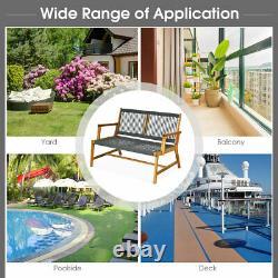 2-Person Patio Acacia Wood Bench Loveseat Chair Porch Garden Yard Deck Furniture
