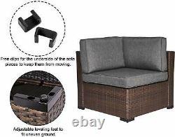 2 Piece Wicker Corner Sofa Set Patio Loveseat Furniture Outdoor Sitting Chairs