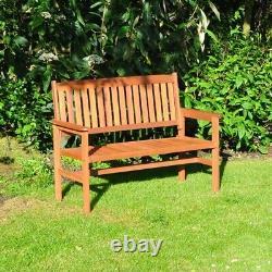 2 Seater Wooden Garden Bench Traditional Hardwood Outdoor Patio Furniture 120cm