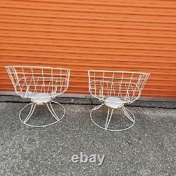 2 Vintage Homecrest Barrel Back Swivel Patio Chairs Mid Century Modern