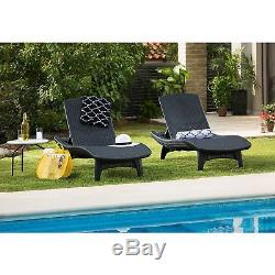 2 pk Keter Rattan Chaise Lounge Gray Chair Pool Patio Outdoor Furniture Set NEW