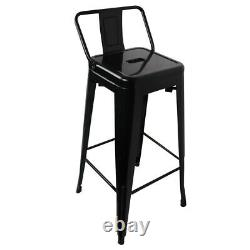30'' Set of 4 Bar Stool Height Kitchen Chair Low-Back Footrest Dining Outdoor