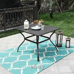 37 Outdoor Patio Dining Table Garden Metal Table Furniture with Umbrella Hole