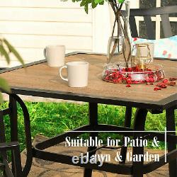 37 x 37 Outdoor Patio Dining Table With Umbrella Hole Square Garden Furniture