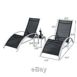 3PCS Adjustable Chaise Lounge Chairs Set Outdoor Patio Pool Garden Furniture US