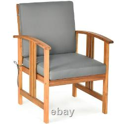 3PCS Outdoor Patio Sofa Furniture Set Solid Wood Cushioned Conversation Set Grey
