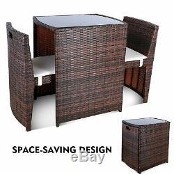 3PCS Outdoor Patio Wicker Bistro Set Furniture Chair Table Set Rattan Porch Yard