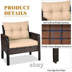 3PCS Outdoor Rattan Conversation Set Patio Garden Furniture Cushioned Sofa Chair