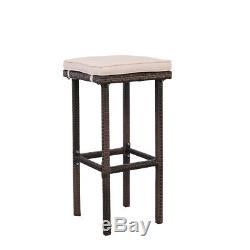 3PCS Outdoor Wicker Bar Set Patio Furniture Table & 2 Stools withCushions Brown