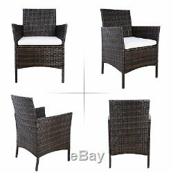 3PCS Patio Furniture Set Outdoor Wicker Bistro Rattan Cushion Coffee Table Chair