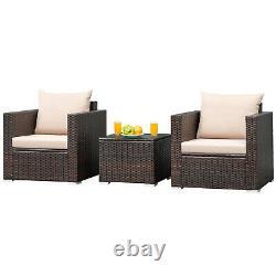 3PCS Patio Rattan Furniture Set Wicker Conversation Sofa Set withCushion Garden