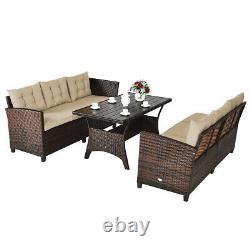 3PCS Patio Rattan Sofa Set Outdoor Wicker Couch Furniture Set Kit with Cushion