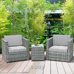 3PCS Patio Rattan Wicker Outdoor Furniture Set with Cushioned Sofa Coffee Table