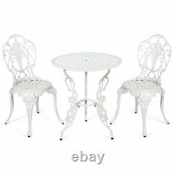 3PCS Patio Table Chairs Furniture Bistro Set Cast Aluminum Outdoor Garden White