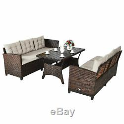 3PCS Rattan Dining Set Patio Furniture 6 Seats Sofa Cushioned for Outdoor Use
