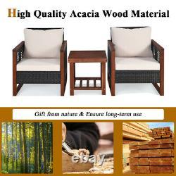 3PCS Rattan Wicker Patio Conversation Set Outdoor Furniture Set with Cushion