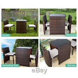 3PCS Wicker Bistro Set Patio Furniture Space Save Rattan Table Chair Set Outdoor