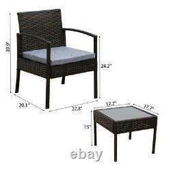 3PCS Wicker Rattan Patio Furniture Set Sofa Cushion Coffee Table Garden Outdoor