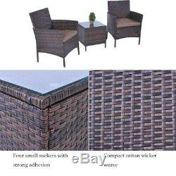 3PC Bistro Set Outdoor Patio Furniture Set Brown Rattan Wicker Chair and Table