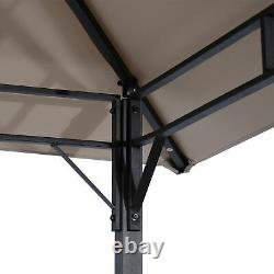 3PC Outdoor Patio Bar Table Set Chairs With Sunshade Canopy Backyard Furniture