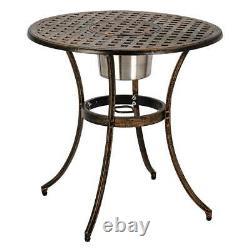 3PC Outdoor Patio Dining Set Ice Bucket Cast Aluminum Bistro Set Patio Furniture