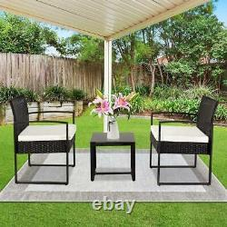 3PC Outdoor Patio Set Wicker Rattan Furniture Sofa Chair with Coffee Table Black