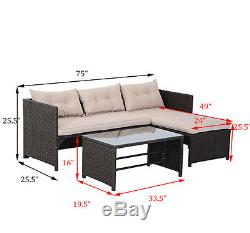 3PC Outdoor Patio Sofa Set PE Rattan Wicker Deck Couch Garden Furniture Brown