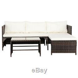3PC Patio Rattan Wicker Sofa Set Cushined Couch Furniture Outdoor Garden